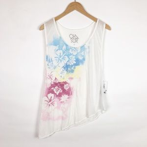 NWT Chaser Floral Asymmetrical Hem Burn Out Tank
